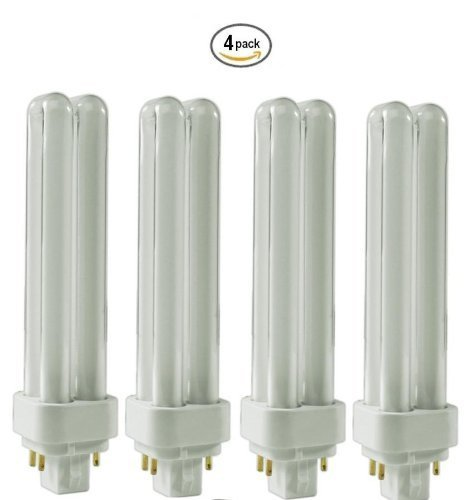 (4 Pack) CFL Bulbs Direct Generic Replacement for Panasonic FDS18E35/4 18W 3500K Double Tube, 4 Pin G24q-2 Base, Compact Fluorescent Light Bulbs 18w Compact Fluorescent Bulb