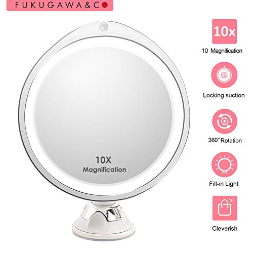 Updated 2019 10X Magnifying Makeup Vanity Mirror with Lights, Lighted Led Magnifying Face Light Up Portable Mirror, 360 Backlit Zoom Foldaway Beauty Cosmetic Mirror for Home Tabletop Travel in Shower