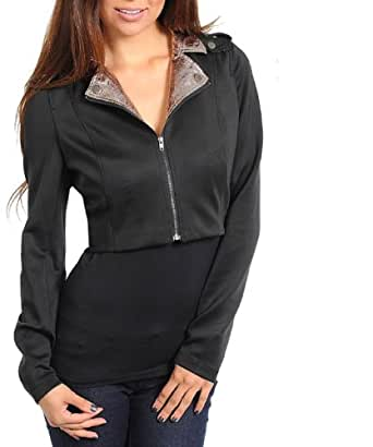 G2 Fashion Square Long Sleeves Women'S Cropped Jacket(OW-JKT,BLK-S)