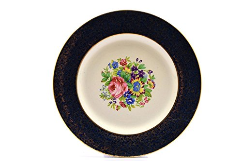 Royal Winton Grimwades England Floral Center Blue Gold Trim Dinner Plate (s)