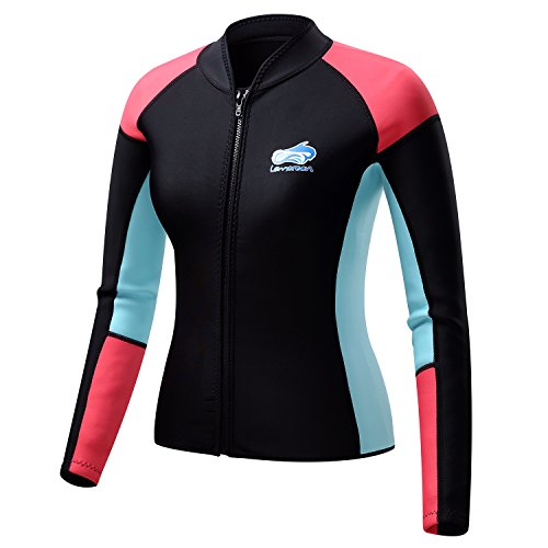 Lemorecn Women's 1.5mm Wetsuits Jacket Long Sleeve Neoprene Wetsuits Top - Top Wetsuit