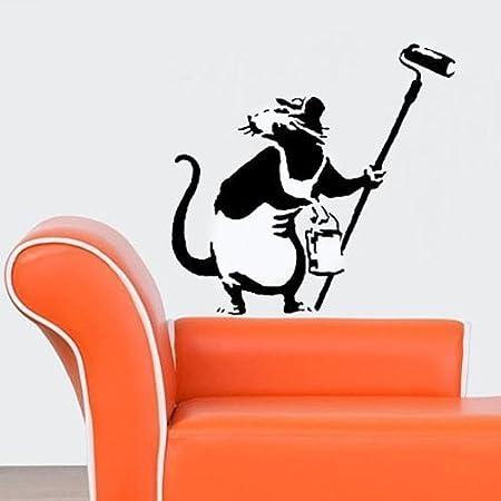 Wiederverwendbar Startseite-Wand-Dekor Schablone Banksy Dekoration Ratte Schablone halb transparent Schablone M// 26X27.5CM Graffiti Banksy Stil Kunst Schablone Wandfarbe Stoffe /& M/öbel