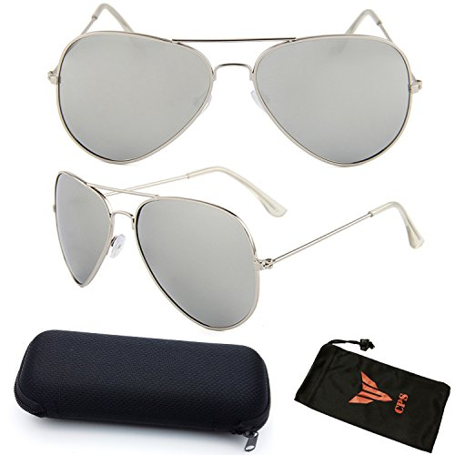 Silver Mirror Aviator Sports Outdoor Driving Sunglasses Eyeglasses With Max Protection + Hard Case - Celebrities Ray Bans