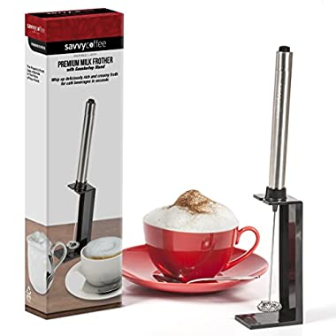 Savvy Coffee Handheld Milk Frother Wand with Stand - Professional Stainless Steel Drink Mixer & Barista Latte Art Tool - Make Decadent Cafe Style Foam for Cappuccinos, Macchiatos, Lattes, Teas, & More