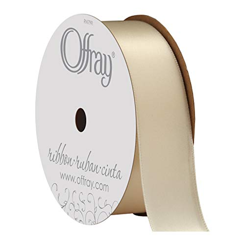 Offray Double Face Satin Craft Ribbon, 7/8-Inch x 18-Feet, Ivory ()