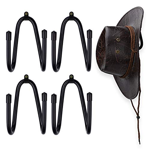 LEKUSHA 4 Pcs Cowboy Hat Rack Wall Mount Cowboy Hat Organizer Fedora Hat Hanger Straw Hat Holder Storage