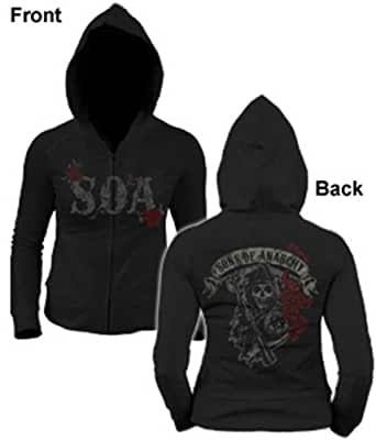 Sons Of Anarchy Rose Reaper SOA Juniors Zip UP Hoodie Samcro L