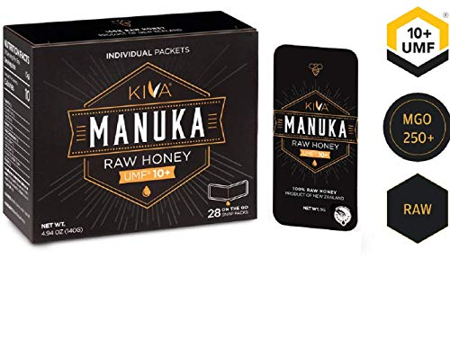 Kiva Raw Manuka Honey SNAP-Packets, Certified UMF 10+, New Zealand (28 Count | On-The-Go Packets) ()