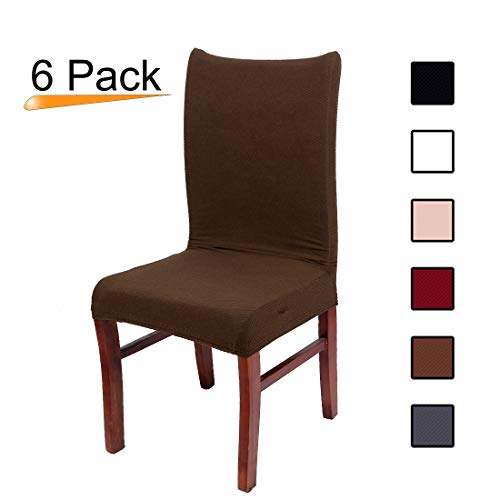 Home Fabric Decor (Stretch Dining Room Chair Slipcovers - Spandex Fabric Removable Chair Protector Jacquard knitted Home Decor Set of 6, Coffee)