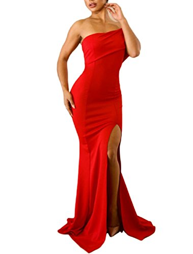 Off The Shoulder One Sleeve Slit Maxi Party Prom Dres Red M ()