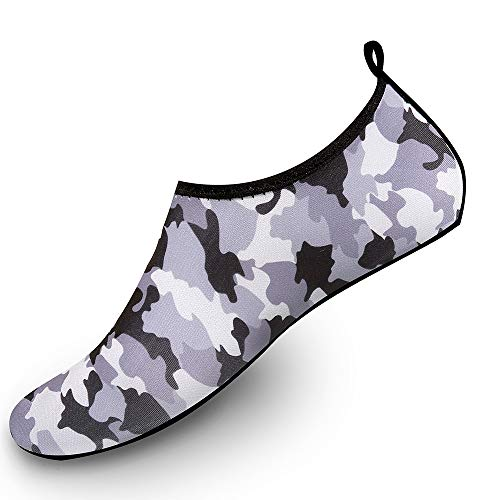 Coser Paradise Womens Mens Kids Water Shoes Quick-Dry Aqua Socks Barefoot Shoes for Outdoor Beach Swimming Surfing Yoga Pool Exercise, Camo Grey, EU40/41 ()
