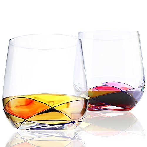 (Stemless Wine Glasses Set of 2, 15 Oz, Hold Red Wine White Wine, Hand Painted Lead-Free Wine Cup, Food-Grade Glasses for Tasting Wine, Elegant Design, Unique Special Gift, Premium Drinkware Collection)