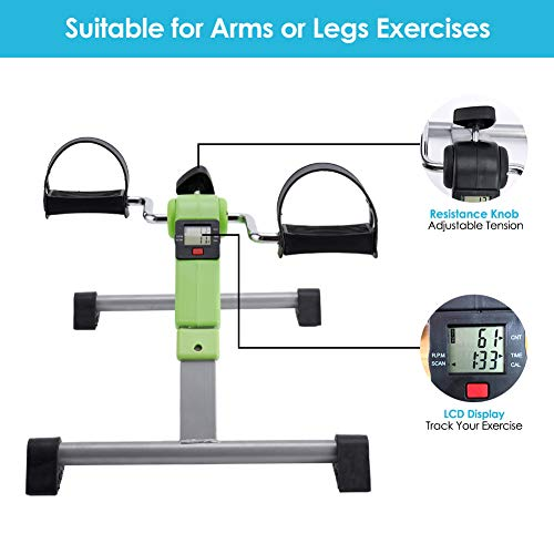 SYNTEAM Foldable Pedal Exerciser with LCD monitor bike exercise machine for Seniors-Fully Assembled, No Tools Required(Green) by Synteam (Image #3)