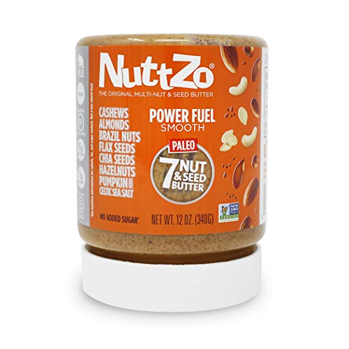NuttZo Organic Smooth Paleo Power Fuel Seven Nut & Seed Butter, 12 Ounce (Peanut Butter With Flax And Chia Seeds)