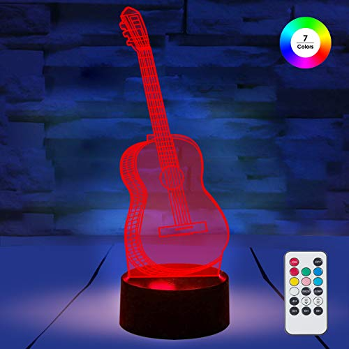 [ 7 Colors/3 Working Modes/Timer Function ] Remote and Touch Control Guitar Night Lights, Dimmable LED Bedside Lamp for Children and Kid's -
