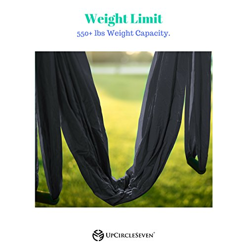 UpCircleSeven Aerial Yoga Swing - Ultra Strong Antigravity Yoga Hammock/Sling for Air Yoga Inversion Exercises - 2 Extensions Straps Included (Black) by UpCircleSeven (Image #4)