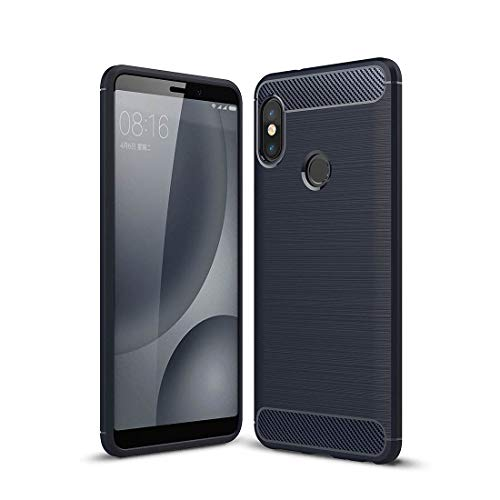 Jiangym Mobile Phone Soft Cases for Xiaomi Redmi Note 5 Pro Brushed Texture Carbon Fiber Shockproof TPU Full-Body Rugged Protective Back Cover Case(Black) Soft Cases (Color : Navy Blue)