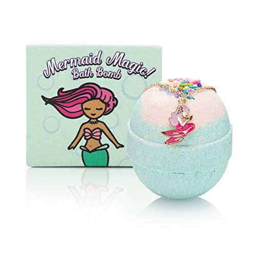 Mermaid Bath Bomb with Surprise Necklace for Girls - Create a Fun Bath Time Spa Experience with our Organic Kids Bath Bombs. Unique holiday or birthday gift for your 4, 5, 6, 7, or 8 year old kid
