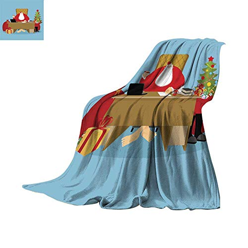 Plush Throw Blanket Digital Printing WarmSanta Claus Office Christmas Work Desk and Chair boss Grandpa Director of New Year Santas Magic Residence at North Pole Workplace and redThrow Blanket 70