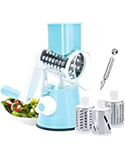 Vegetable Chopper,Beauty Nymph Rotary Cheese Grater Mandoline Kitchen Vegetable Shredder with 3 Interchangeable Blades for Fruit Vegetables Nuts