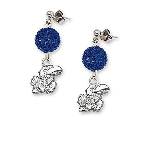 Lex & Lu LogoArt Sterling Silver Univ Of Kansas Crystal Ovation Earrings