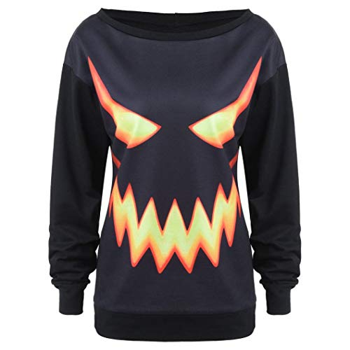 Big Clearance! Women Long Sleeve Halloween Pumpkin Face Printed Sweatshirt Daoroka Ladies O Neck Black Jumper Pullover Hooded Tops Fashion Autumn Winter Causal Loose Tunic Blouse