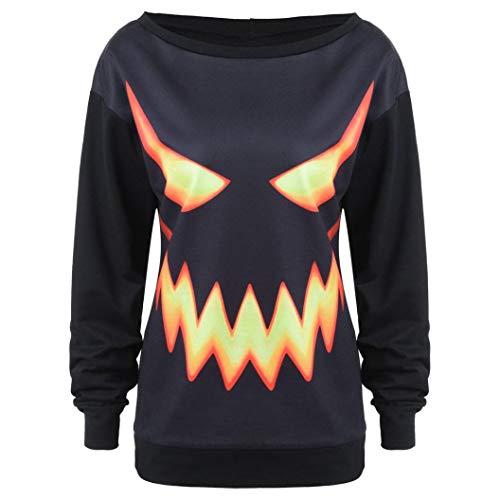 Big Clearance! Women Long Sleeve Halloween Pumpkin Face Printed Sweatshirt Daoroka Ladies O Neck Black Jumper Pullover Hooded Tops Fashion Autumn Winter Causal Loose Tunic Blouse -