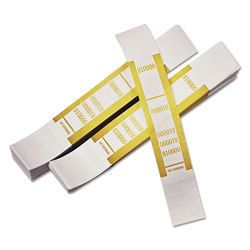 PM Company 55010 Self-Adhesive Currency Straps, Mustard, 10,000 in $100 Bills, 1000 Bands/Pack