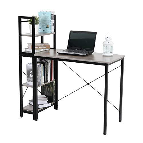 ALPHA HOME Computer Desk with Mobile Bookshelf, Wood Grain Office Desk PC Laptop Table Workstation – Charcoal