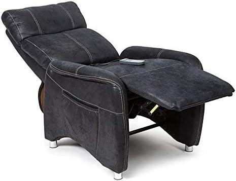 SuenosZzz. Sillon reclinable de Relax, Butacas Masaje por vibracion Relax, Sillon tapizado,Tela simil Piel Vuelta búfalo, Color Negro. Sistema Pared ...
