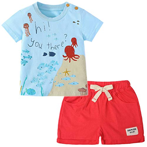 Little Boy Short Sleeve T-Shirt and Shorts 100% Cotton Ocean Cartoon Summer Outfit Clothing Set 2PCS (Ocean,3T) Cute Graphic Toddler T-shirt