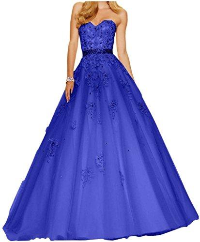 Damen Wunderschoen Linie Royal Blau Charmant Lang Abschlussfeiern Tanzenkleider Ballkleider Abiballkleider Abendkleider Spitze A pS7Sdwq5