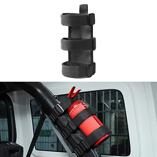 - Adjustable Car Roll Bar Fire Extinguisher Holder for Jeep Wrangler JK JL TJ YJ (Black)