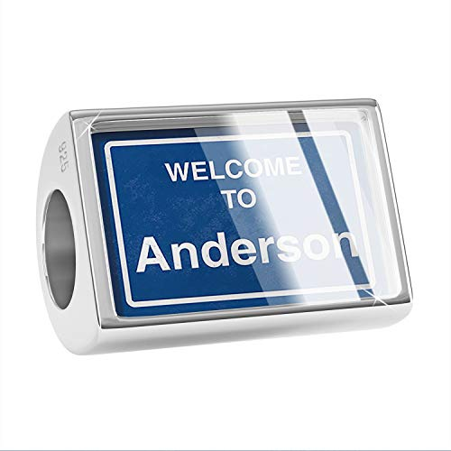 NEONBLOND Charm Sign Welcome to Anderson 925 Sterling Silver Bead ()