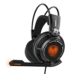 SOMiC G941 7.1 Virtual Surround Sound Effect Gaming Headset with Powerful Bass Intelligent Vibration Clear Voice HD Microphone Cool LED Anti-interference USB Cord - (Clear Voice Edition)