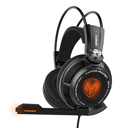 SOMiC G941 7.1 Virtual Surround Sound Effect Gaming Headset with Powerful Bass Intelligent Vibration Clear Voice HD Microphone Cool LED Anti-interference USB Cord - (Clear Voice Edition) (Effects Powerful)