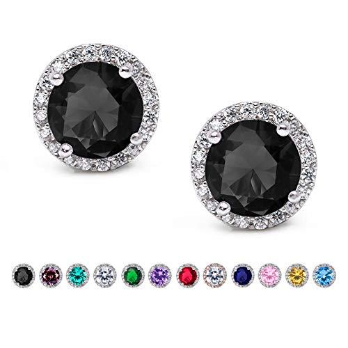 SWEETV Cubic Zirconia Stud Earrings, 10mm Round Cut, Rhinestone Hypoallergenic Earrings for Women & Girls, Black