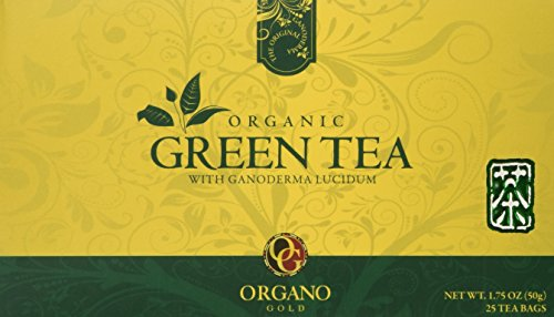 Organo Gold Green Tea with Ganoderma Lucidum (1 Box of 25 Sachets) (Gold Red Green)