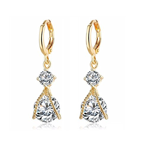 18KT Gold Plated Braided Crystal Dangle Earrings (Yellow) ()