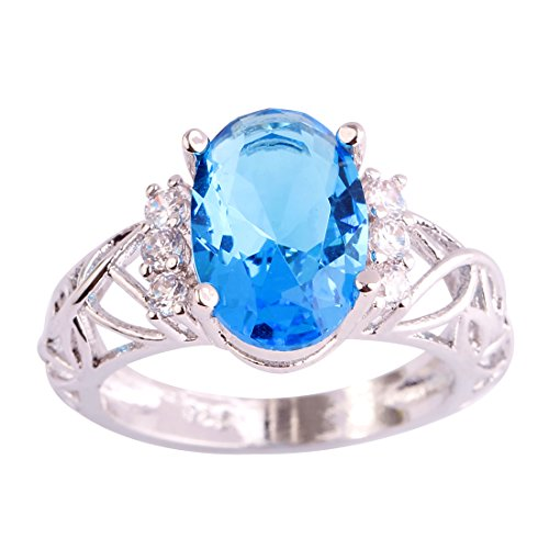 Veunora 925 Sterling Silver Created Oval Cut Blue Topaz Filled Solitaire Promise Ring for Women Size 11