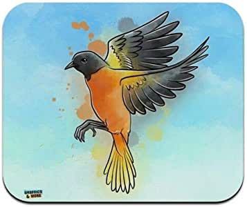 Mouse Mat, Baltimore Oriole Watercolor Bird Low Profile Thin Mouse Pad 7.1 x 8.7 Inch Mousepad, Gaming Mouse Pad