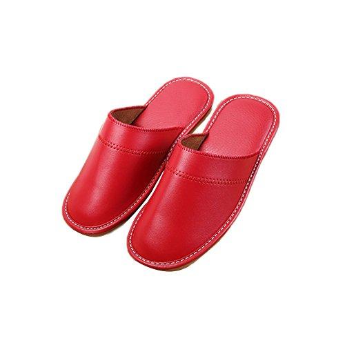 Tellw Autunno Inverno Pu Pelle Pantofole Pantofole Calde Per La Casa Coperta Di Riscaldamento Uomini E Donne Pantofole In Pelle Coppie Pantofole Rosso