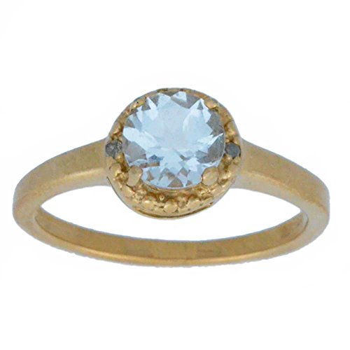 Genuine Aquamarine & Diamond Round Ring 14Kt Rose Gold Plated Over .925 Sterling Silver 14kt Genuine Birthstone Mothers Ring