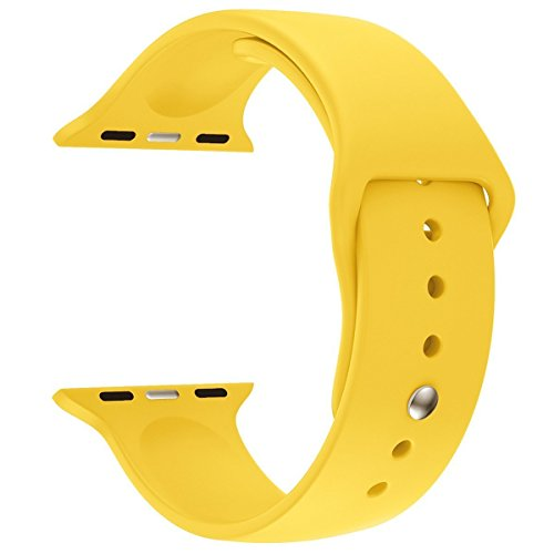 Soft Silicone Replacement Sport Band 38mm/42mm for Apple Watch Band for Apple Watch Series 1 Series 2 Sport&Edition (Yellow, 38mm)