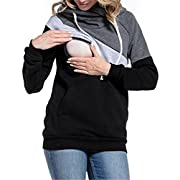 LUKYCILD Womens Maternity Nursing Top Sweatshirt Long Sleeve Patchwork Zipper Pullver Top Size XL (Black)