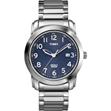 Timex Men's T2P132AW Elevated Classics Blue Dial, Silver-Tone Expansion Band Watch