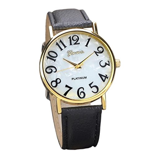 AmyDong Women Retro Watches Digital Dial Leather Band Alloy Quartz Analog Wrist Watch Watches for Women Girls (Black)