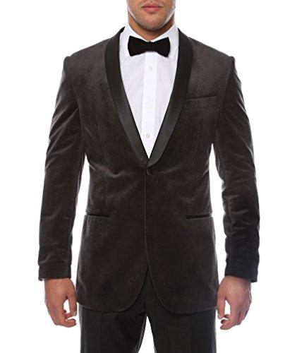 Ferrecci Men's Enzo Grey Velvet Slim Fit Shawl Lapel Tuxedo Blazer - 42L ()