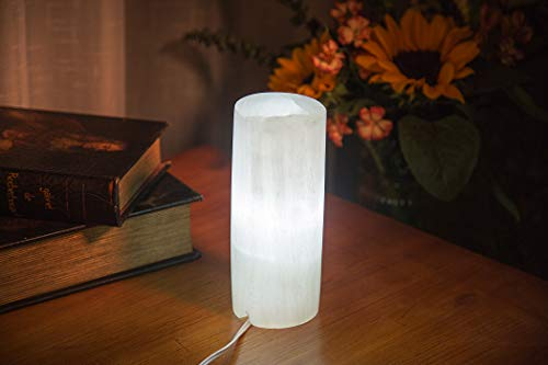 AMOYSTONE White Selenite Electric Lamp Natural Gemstones Crystals Light with Cord and Led Bulb Cylindrical - Column Lamp Crystal