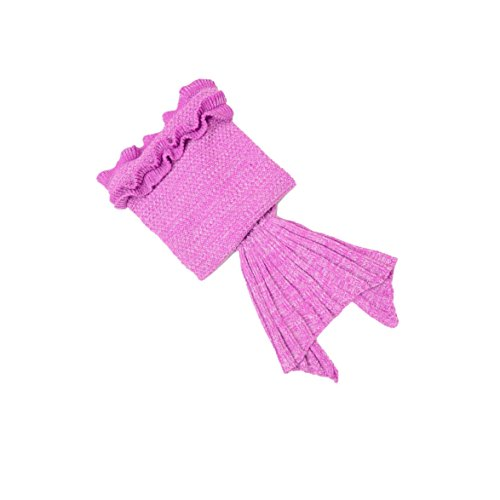Hughapy Mermaid Blanket Kids Knitted Sleeping Bag Sofa Falbala Mermaid Tail Bed Throw Blanket (55″x28″, Light Pink)